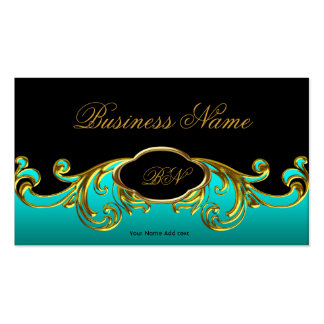 Elegant Classy Black Teal Blue Green Gold Floral Double-Sided Standard Business Cards (Pack Of 100)