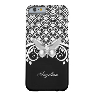 Elegant Classy Black White Lace Butterfly Barely There iPhone 6 Case