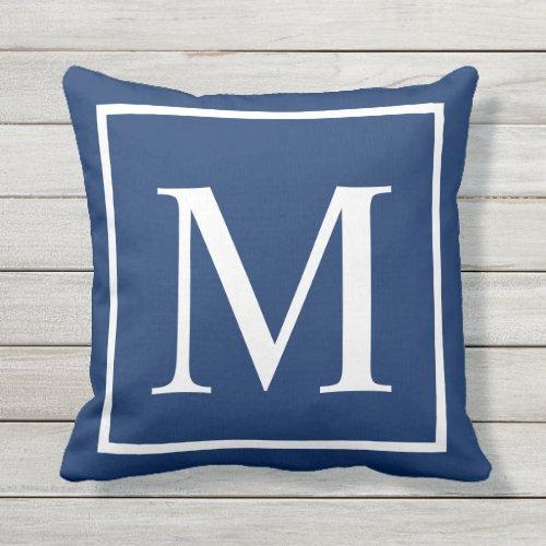 Elegant Classy Blue Customize monogram Outdoor Pillow