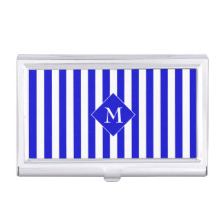 Elegant Classy Chic Blue White Striped Initial Case For Business Cards