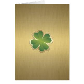 Elegant classy chic  golden lucky shamrock greeting cards