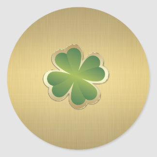 Elegant classy chic  golden lucky shamrock classic round sticker