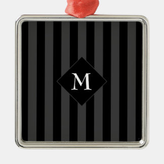 Elegant Classy Chic Gray Black Striped Initial Metal Ornament