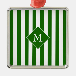 Elegant Classy Chic Green White Striped Initial Metal Ornament