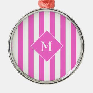 Elegant Classy Chic Pink White Striped Initial Metal Ornament
