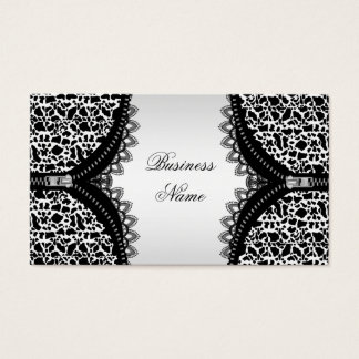 Elegant Classy Cow Animal Black White Zipper Business Card