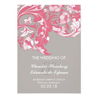 Elegant Classy & Dark Florals - Gray, Pastel Red 5x7 Paper Invitation Card