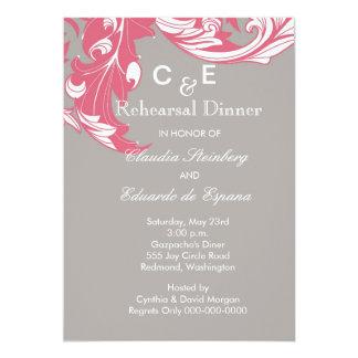 Elegant Classy & Dark Florals - Gray, Pastel Red Card