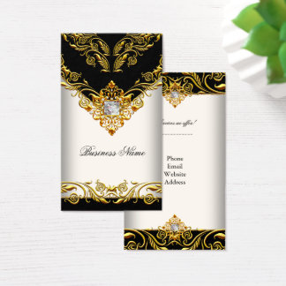 Elegant Classy Elite Gold Cream Black on Gold Business Card