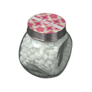 Elegant Classy Floral Vintage Damask Pink Mix Glass Candy Jar