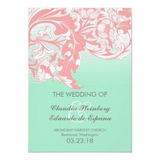 Elegant Classy Florals - Blue-Green, Aqua, Mint 5x7 Paper Invitation Card