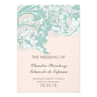 Elegant Classy Florals - Blush Pink Mint Personalized Invite