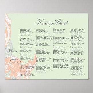 Elegant Classy Florals - Green, Apricot, Pistachio Poster