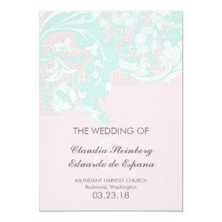 Elegant Classy Florals - Light Mint, Pastel Pink 5x7 Paper Invitation Card