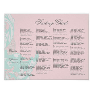 Elegant Classy Florals - Light Mint, Pastel Pink Poster