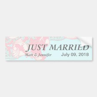 Elegant Classy Florals - Pastel Pink, Powder Blue Car Bumper Sticker