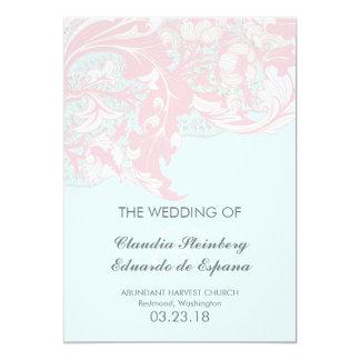 Elegant Classy Florals - Pastel Pink, Powder Blue Card
