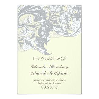 Elegant Classy Florals - Sand, Yellow, Gray 5x7 Paper Invitation Card