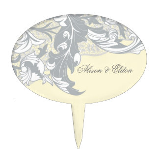Elegant Classy Florals - Sand, Yellow, Gray Cake Pick