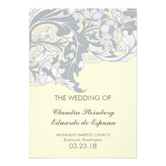 Elegant Classy Florals - Sand Yellow Gray Invitations