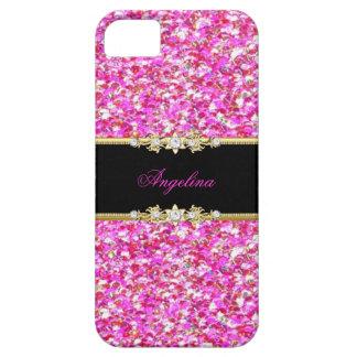 Elegant Classy Glitter Look Pink Black Gold iPhone SE/5/5s Case