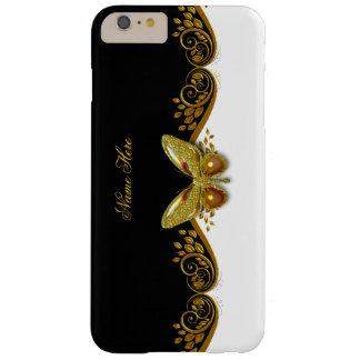 Elegant Classy Gold Black Butterfly on White Barely There iPhone 6 Plus Case