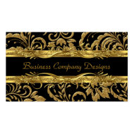 Elegant Classy Gold Black Damask Embossed Look 2 Business Card Templates