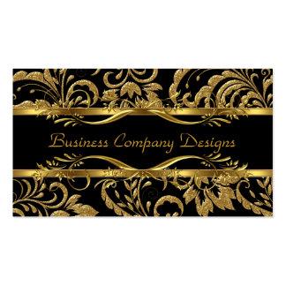 Elegant Classy Gold Black Damask Embossed Look Business Card