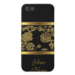 Elegant Classy Gold Black Floral 2 iPhone 5/5S Cover