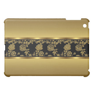 Elegant Classy Gold Black Floral Cover For The iPad Mini