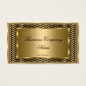 Professional Business Elegant Classy Gold Black Frame Chevron Stripe Business Card