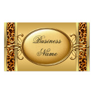 Elegant Classy Gold Black Leopard animal print 2 Business Card Templates
