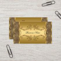 Elegant Classy Gold Black Leopard animal print Business Card
