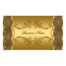 Elegant Classy Gold Black Leopard animal print Double-Sided Standard Business Cards (Pack Of 100)