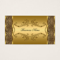 Elegant Classy Gold Black Leopard animal print Business Card