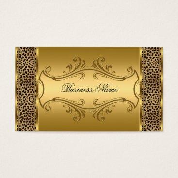 Professional Business Elegant Classy Gold Black Leopard animal print Business Card