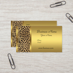 Superbe Elegant Classy Gold Black Leopard Animal Print Business Card