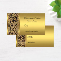 Animal print business cards templates zazzle elegant classy gold black leopard animal print business card reheart Gallery