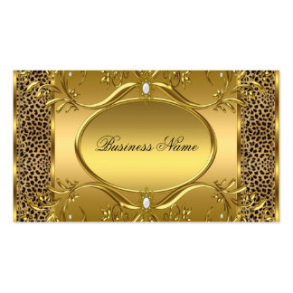 Elegant Classy Gold Black Leopard Pearl 2 Business Card