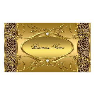 Elegant Classy Gold Black Leopard Pearl Business Card
