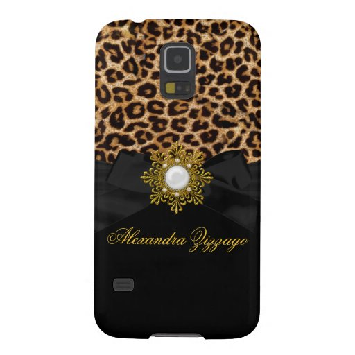 Elegant Classy Gold Black Leopard With Bow Jewel 2 Case For Galaxy S5