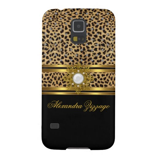 Elegant Classy Gold Black Leopard With Jewel 2 Galaxy S5 Covers