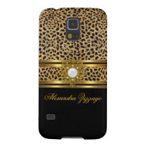 Elegant Classy Gold Black Leopard With Jewel 2 Case For Galaxy S5