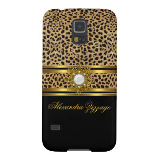 Elegant Classy Gold Black Leopard With Jewel 2 Galaxy S5 Cases