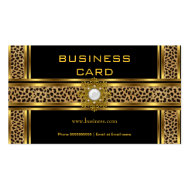 Elegant Classy Gold Black Leopard With Jewel Business Card Templates