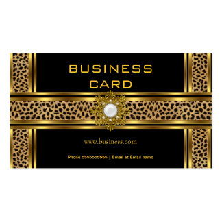 Elegant Classy Gold Black Leopard With Jewel Double-Sided Standard Business Cards (Pack Of 100)