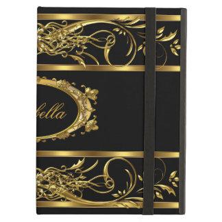 Elegant Classy Gold Black Name diamond jewel iPad Air Cover