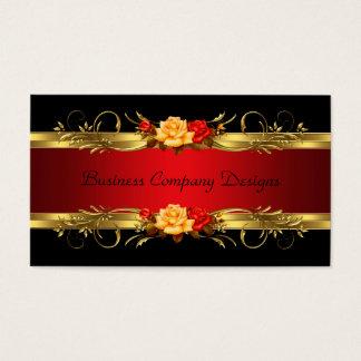 Elegant Classy Gold Black Red Roses Business Card