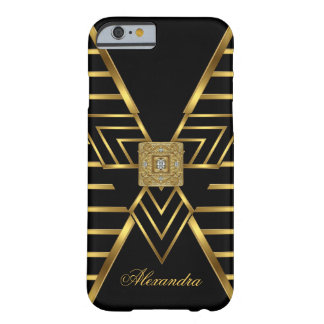 Elegant Classy Gold Black Stripe Art Deco Barely There iPhone 6 Case