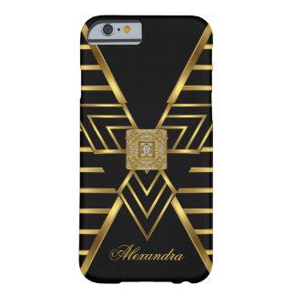 Elegant Classy Gold Black Stripe Art Deco Barely There iPhone 6 Case